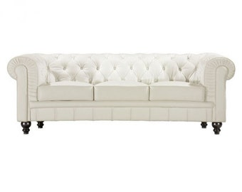 White / Silver / Black Leather Chesterfield Sofa