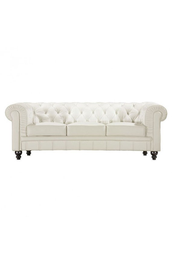 White Silver Black Leather Chesterfield Sofa by