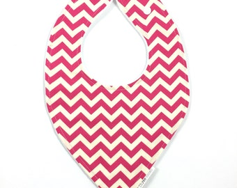 Pink Chevron Faux Bandana Bib Baby toddler waterproof dribble feeding bib