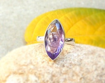 Amethyst marquise ring in Sterling Silver, Amethyst Gemstone Ring, Stacking Ring, Amethyst Jewelry, Birthday Gift, Amethyst ring size 5/6