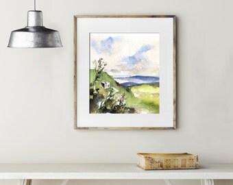 Original Watercolor Painting, Landscape Painting, Green Hills, Nature Watercolour Art