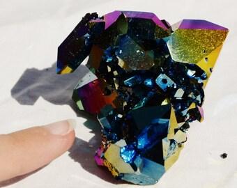 "6388xx Rainbow FLAME AURA Quartz Titanium Crystal Healing Cluster 82gm xxxlarge 60mm FREE Usa Shipping!! 2.4"""