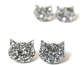 Cat Earrings · Silver Glitter Cat Earrings · 2 sizes