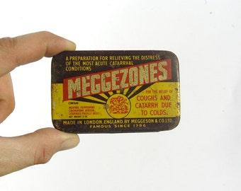 Meggezones, Metal Medical Tin, Old Metal Can, Rustic Tin Storage, Old Pharmacy Tin Box, Rustic Metal Canister, Rustic Can Box, Medical Tin