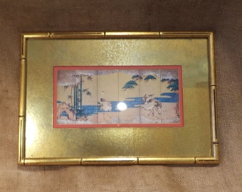 Framed Asian Panels, Dancing Cranes, Matted and Framed Classical Asian Art