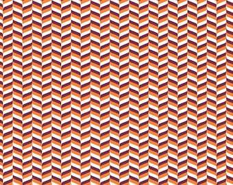 Orange, maroon and white craft  vinyl sheet - HTV or Adhesive Vinyl -  chevron herringbone zig zag pattern HTV3205