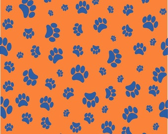 Orange with blue paw prints craft  vinyl sheet - HTV or Adhesive Vinyl -   pattern HTV607
