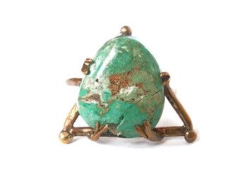 Size 7.5 American Mined Turquoise Ring, Vintage Stone