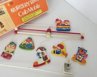 Vintage Wooden Nursery Rhymes Crib Mobile