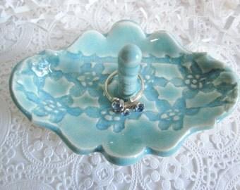 Mint green ring holder, hand built ceramic ring dish