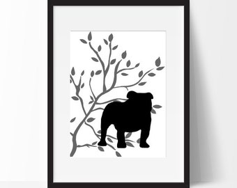 Bull Dog Art Print, Modern Decor, Dog Lover Gift, Pets, Dog Art Print, Dog Show, Tree