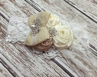 Baby girls couture lace headband. White and icory headband.