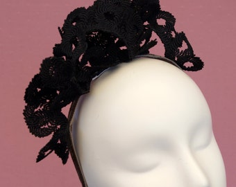 Black Lace Headband Fascinator