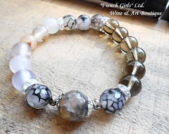 Agate Smoky Quartz Crystal Beaded Gemstone Healing stone Yoga Meditation Mala bracelet, Boho Vintage Chic Bohemian Jewelry