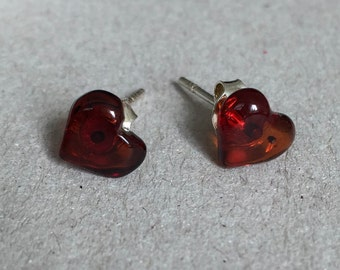 Earrings amber heart
