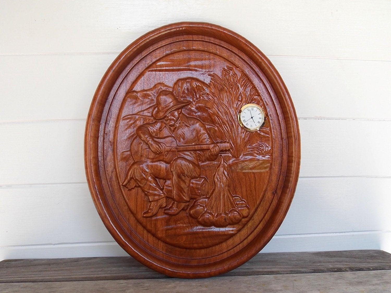 Western Wood Wall Decor : Cowboy wall decor clock wood art home western