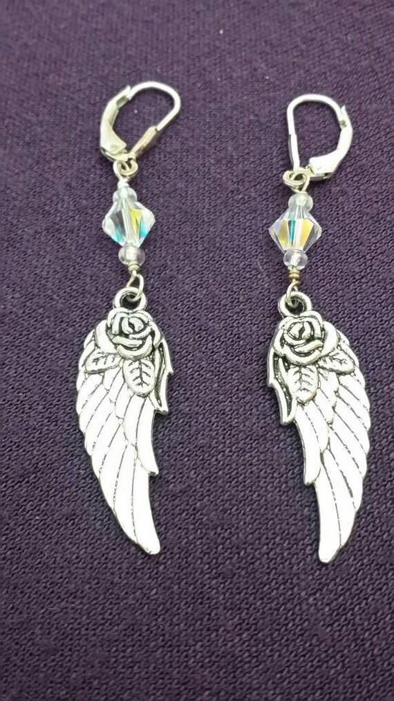 Rose Angel Wing Swarovski Crystal Bead Beaded Earrings Biker