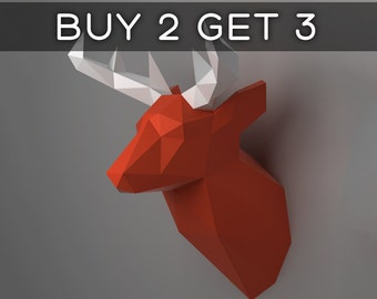 Deer Head Trophy - 3D papercraft model. Downloadable DIY template