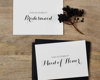 5 x Thank You Bridesmaid Card, Thank You For Being My Maid of Honor, Maid of Honor Card, Bridesmaid Card, Thank You Wedding Cards, K6