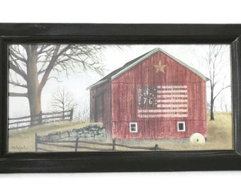 Flag Barn, Billy Jacobs, Barn Print, Art Print, Country Decor, Primitive, Wall Hanging, Handmade, 21x12, Custom Wood Frame, Made in the USA
