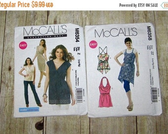 ON SALE 159)  McCalls 6358 Misses Size 16-26 Halter Tops  Mccalls 6354 Misses Size 16-22 Tunic top Dress