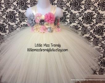 Ivory Couture Flower Girl Tutu Dress, Flower Girl Tutu Dress, Ivory Tutu Dress, Flower Tutu Dress, Ivory Couture Flower Girl  Dress