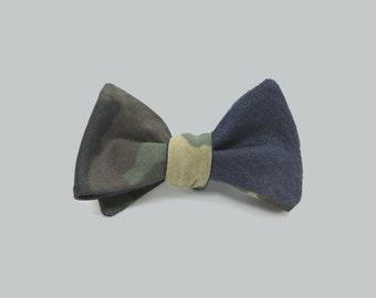 Double Sided Camo & Denim Self Tie Bow Tie
