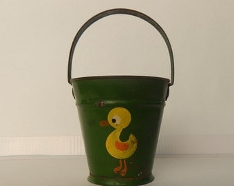 Vintage Child's Tin Sand Pail ~ Green Bucket With Duck ~