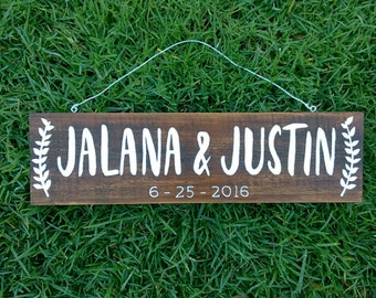 Personalized Name Sign, Couple Wedding Gift, Wedding Date Sign, Established Sign, Custom Wooden Sign, Personalized Sign  | 35cm x 10cm