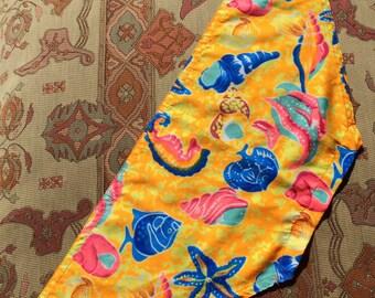 Yellow Beachy Vintage Headscarf With Seashells