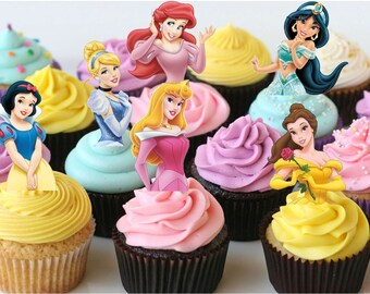 Your Cupcake is Her Dress Princess double sided  Cupcake Toppers Birthday Party Decorations Set of 12 very cute Disney Inspired
