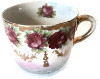 Antique Shaving Cup Hand Painted Roses German Porcelain Lusterware