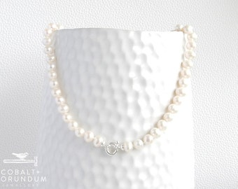 White Freshwater pearl necklace (6-7mm) with sterling silver clasp | natural pearls
