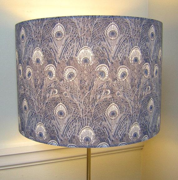 Handmade Lightshade - Liberty Fabric - Hera Peacock Design - Navy and Grey