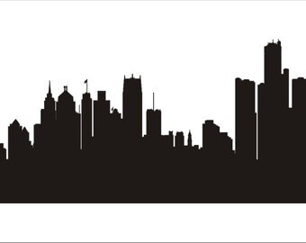 Detroit City Skyline-  Reusable STENCILS- 7 Sizes Available- Create your own Detroit Skyline Signs and pillows!