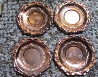 Vintage engraved copper coasters set of 4