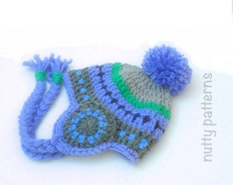 Crochet Patterns * Wheel Hat * Instant Download Pattern #451 * Ear Flaps * Pompom * Baby, Toddler, Child, Teen, Adult *  *
