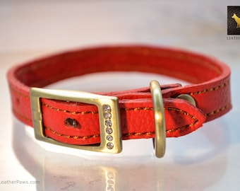 """XS Toy Breed Puppy Red or Black Leather Cat Dog Collar Extra Small with Diamond Studded Buckle -  Neck 7.5"""" to 10"""""""