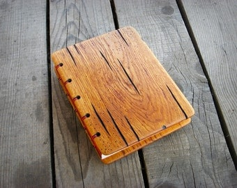 Handmade  journal with distressed oak wood cover / natural finish / ready to ship