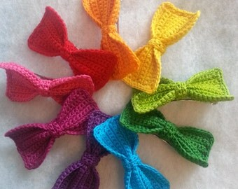 Crochet Bow Barrette in Orange
