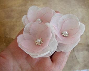 Blush Hair Pins, Wedding Hair Accessories, Ivory Blush Pink Flowers, Bridesmaids, Blush Flower Girl, Bridal Hairpiece,Floral Set Hair Pins