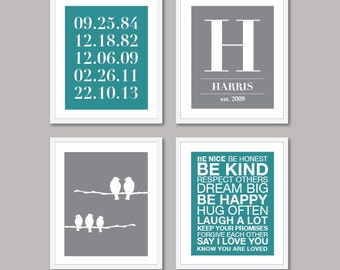 Custom Family Prints - Family Name and Dates Print - House Rules Print - Personalized Family Wall Art - Set of 4 Prints - The Love Cluster