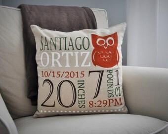 Woodland Nursery, Personalized birth pillow cover, birth Announcement pillow cover, birth pillow cover, OWL Nursery, CUSTOMIZE, 18x18