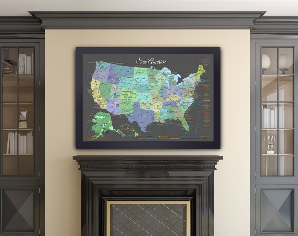 USA Map  National ParksSlate Edition Framed Pin MapReady - Us travel map push pin