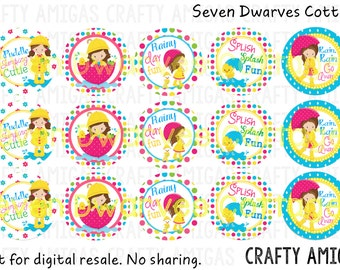 Rainy Day Cuties 4x6 one 1 inch bottle cap image, bci, digital collage sheet, singing in the rain, ducks, raindrops, spring