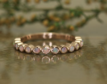 Opal Wedding Band, Bubble Band, Bezel Set Opals in Rose Gold, 0.20ctw, 2.5mm Wide, 14 Round Cabochon Opals, Mothers Ring, Cadence C