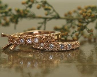 Bespoke 1ct Morganite and Diamond Wedding Set in Rose Gold, Euro Shank, Art Nouveau Style with Milgrain & Filigree, Antique, Fatima Set