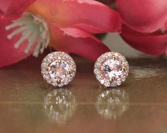 Morganite & Diamond Halo Earrings, 1.00ctw Morganite, 0.21ctw Diamonds, Friction Back, Halo Earrings, Emily M