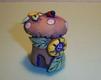 Purple Wash Ladybug Gnome home,mini fairy house,garden home,polymer clay,YELLOW flowers,fairy garden,terrarium decoration,Nina's Gnome Homes