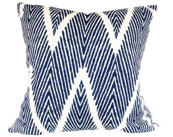 Lacefield Blue Herringbone Bali Decorative Pillow Cover - Both Sides - 12x16, 12x20, 14x24, 16x16, 18x18, 20x20, 22x22, 24x24